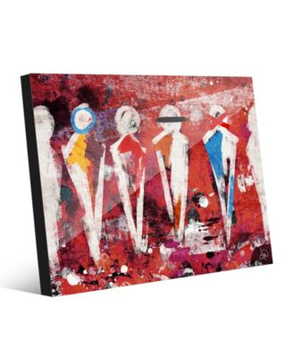 """Abstract Figure Lineup on Red Abstract 20"""" x 24"""" Acrylic Wall Art Print"""