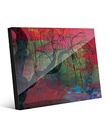 Sundown Willow Tree on Scarlet Abstract Acrylic Wall Art Print Collection
