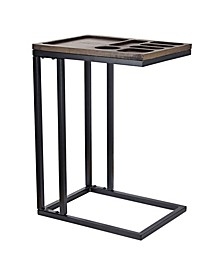 American Art Decor Wood and C Style End Side Table