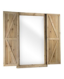 American Art Decor Shuttered Wall Mirror with Wooden Frame