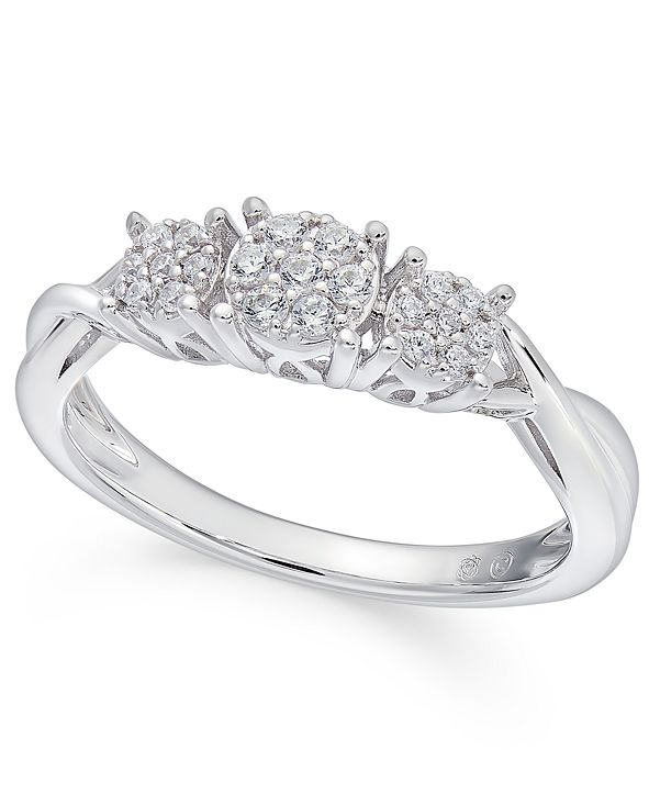 Macy's Diamond Trio Cluster Promise Ring (1/6 ct. t.w.) in 10k White Gold
