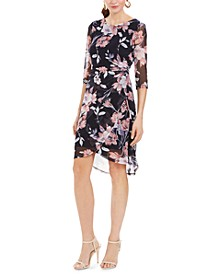 Petite Ruched Floral-Print Sheath Dress