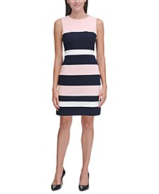 Petite Scuba Crepe Colorblock Sheath Dress
