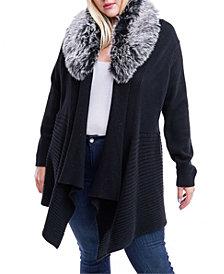 Fever Plus Size Faux-Fur-Collar Open-Front Cardigan