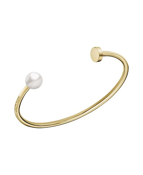 Calvin Klein Bubbly Shiny Stainless Steel and PVD Champagne Gold Imitation Pearl Open Bangle Bracelet