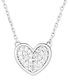 "Diamond Heart 16"" Pendant Necklace (1/20 ct. t.w.) in Sterling Silver"