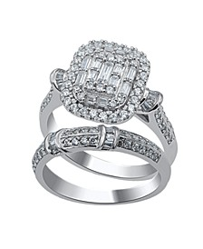 Round and Baguette Composite Twin Set Diamond (1 ct. t.w.) Ring in 14K White Gold