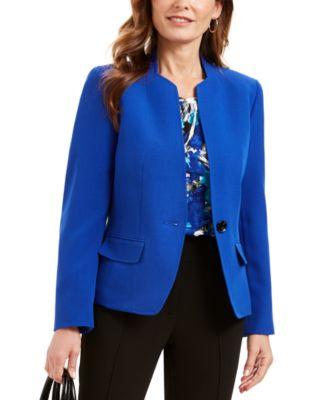 Stand-Collar One-Button Blazer