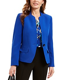 Stand-Collar One-Button Blazer