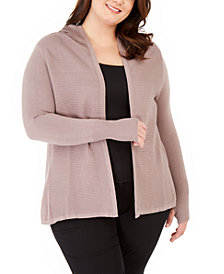 Belldini Plus Size Open-Front Hooded Cardigan