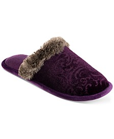 Women's Boxed Patterned Velour Clog Slippers