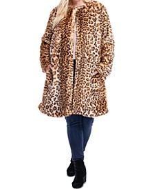 Plus Size Leopard-Print Faux-Fur Coat