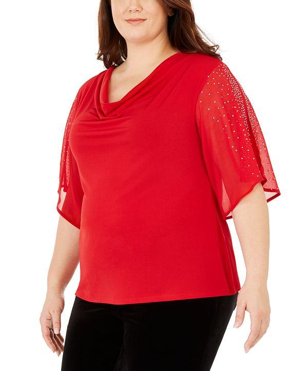 Belldini Plus Size Embellished Split-Sleeve Top