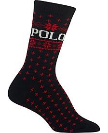 Women's Snowflake-Border Polo Crew Socks