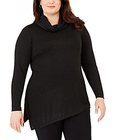 Plus Size Metallic Cowlneck Asymmetrical-Hem Top