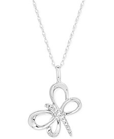 "Diamond Dragonfly 16"" Pendant Necklace (1/20 ct. t.w.) in Sterling Silver"