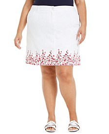 Plus Size Border-Print Skort, Created for Macy's