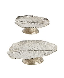 Water Lilly Pedestal Trays - Set of 2
