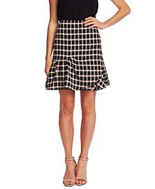 Ruffled Plaid Tweed Skirt