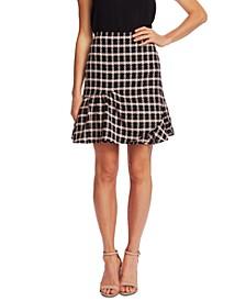 Ruffled Plaid Tweed Skirt