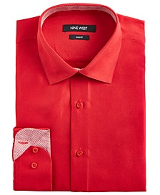 Men's Slim-Fit Wrinkle-Free Performance Stretch Samba Red Dress Shirt
