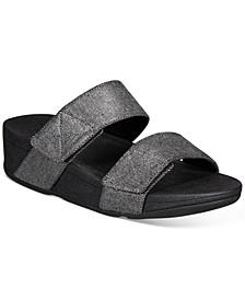 Mina Shimmer Denim Slide Sandals