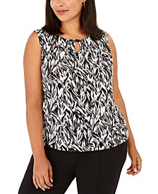 Plus Size Sleeveless Printed Keyhole Top