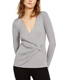 INC Petite Metallic-Knit Faux-Wrap Sweater, Created for Macy's