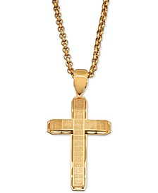 "Men's Greek Key Cross 24"" Pendant Necklace in Yellow Ion-Plated Stainless Steel"