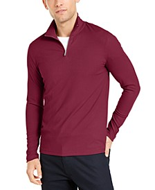 Men's Lightweight Ribbed Quarter-Zip Pullover, Created for Macy's