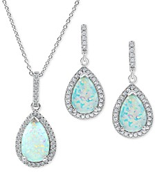 2-Pc. Set Lab-Created Sapphire & Cubic Zirconia Pendant Necklace & Drop Earrings Set in Sterling Silver (Also in Lab-Created Emerald, Ruby & Opal)