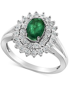Emerald (3/4 ct. t.w.) & Diamond (1/10 ct. t.w.) Ring in Sterling Silver