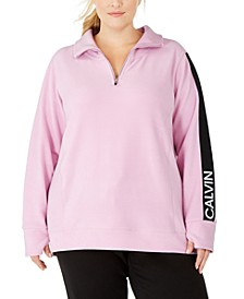 Plus Size Logo-Sleeve Zip-Neck Top