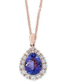 "EFFY® Tanzanite (1-1/2 ct. t.w.) & Diamond (3/8 ct. t.w.) 18"" Pendant Necklace in 14k Rose Gold"