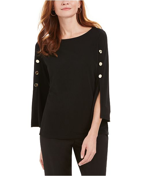 Kasper Button-Detail Split-Cuff Blouse
