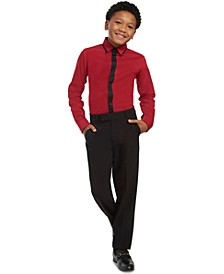 Big Boys Slim-Ft Stretch Contrast-Placket Dress Shirt & Slim-Fit Stretch Satin Dress Pants