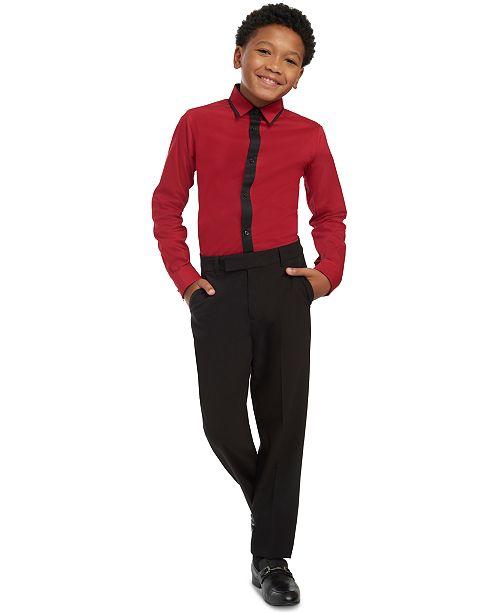 Calvin Klein Big Boys Slim-Ft Stretch Contrast-Placket Dress Shirt & Slim-Fit Stretch Satin Dress Pants