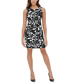 Garden-Printed Scuba Crepe Sheath Dress