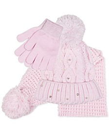 Big Girls 3-Pc. Cable Knit Hat, Scarf & Gloves Set
