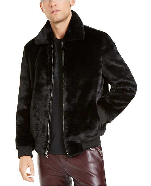 INC International Concepts INC Men's Faux Fur Bomber Jacket, Created For Macy's
