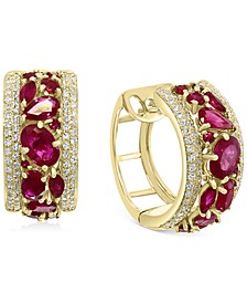 EFFY® Certified Ruby (3-1/2 ct. t.w.) & Diamond (5/8 ct. t.w.) Small Huggie Hoop Earrings in 14k Gold