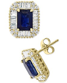 EFFY® Sapphire (1-1/3 ct. t.w.) & Diamond (1/2 ct. t.w.) Stud Earrings in 14k Gold