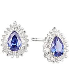 Tanzanite (3/4 ct. t.w.) & Diamond (1/3 ct. t.w.) Stud Earrings in 14k White Gold