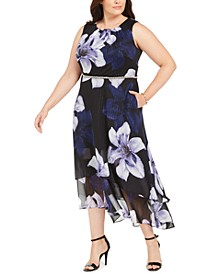 Plus Size Embellished Floral-Print A-Line Dress