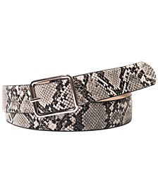 I.N.C. Snake-Embossed Belt with Classic Buckle, Created For Macy's