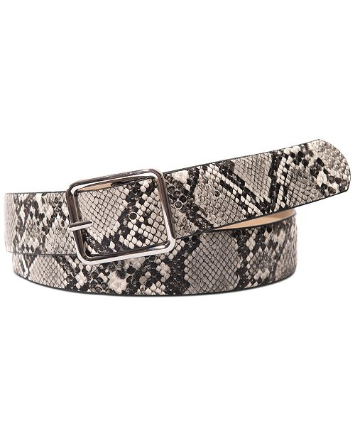INC International Concepts I.N.C. Snake-Embossed Belt with Classic Buckle, Created For Macy's
