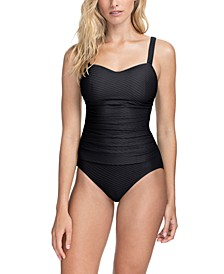 Ribbons Textured Underwire Tummy Control One-Piece Swimsuit