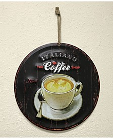 Round Metal Painted Art with Italian No 1 The Coffee Shop