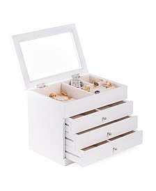 Jewelry Case with 3 Drawers and Glass See-Thru Top