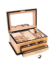 Birdseye Maple 3 Level Jewelry Box with Gold tone  Accents and Locking Lid
